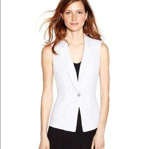 Sleeveless White Vest Jacket WHBM